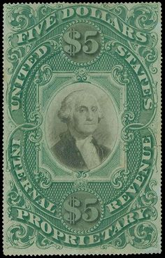 United States Revenues, Scott RB10a 1873 $5 Green and black, light manuscript cancel, small faults and a small repair, an otherwise a Very Fine appearing example (Scott $11,000)