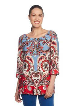 Our paisley printed top with it's tasteful boat neck is fun and bright and perfect for pairing. Latest Fashion For Women, Womens Fashion, Paisley Print, Floral Tops, Tunic Tops, Blouse, Shopping, Printed, Fall