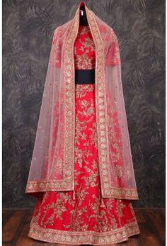 Designer Bridal Lehenga-Red & Pink Dual Tone-Badla Work-GC1505