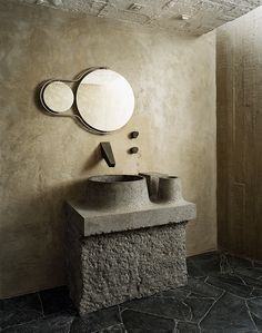 Discover Pedro Reyes' brutalist house in Mexico DF in the latest edition of Bad Inspiration, Bathroom Inspiration, Industrial Bathroom, Modern Bathroom, Warm Industrial, Bathroom Furniture, Bathroom Interior, Design Bathroom, Kitchen Design