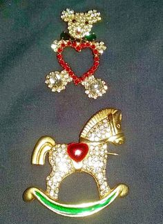 Rhinestone Holiday Pin Broach Jewelry 1 Bear 1 Rocking Horse 2 Pins Collectible #Unbranded