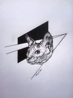 blackwork cat tattoo design