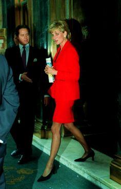 Princess Diana leaves the Savoy