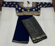 Saree Stuff: Viscous Pure Georgette Saree Length:5.5 mtr Wash: First Dry Wash BLOUSE: Gotapatti blouse Size: max 38(1_1) margin inside. Wash: Normal Wash
