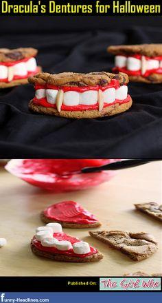 Dracula's Dentures for Halloween. Brace friendly food! #dental #halloween #cookies