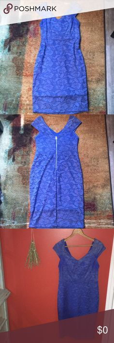 """Alexia Admor • Blue Lace Midi Sheath Dress Gorgeous, gorgeous blue lace midi sheath dress by Alexia Admor! Worn once to a wedding, EUC • Incredibly classic & feminine fit • Delicate cap sleeve • Ultra flattering • Fully lined, soft & comfortable! • Slight v neck, with low v in back • silver back zipper • This dress epitomizes muted sexy, I received many compliments 😍 • 38"""" top of sleeve to hem • 15"""" bust • 14"""" waist • This is very stretchy and forgiving • No trades, offers welcome 🌿 Alexia…"""