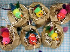 the vintage umbrella: paper sack bird& nests (I just love everything Jenni does! Spring Theme, Spring Art, Spring Crafts, Spring Activities, Art Activities, Preschool Crafts, Easter Crafts, Bird Nest Craft, Bird Nests