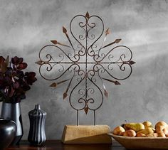 Iron Medallion on Stand | Pottery Barn