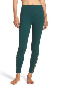 Free shipping and returns on Zella 'Midnight' High Waist Cutout Midi Leggings at Nordstrom.com. Contoured seams accent the flattering high waistband of stretchy, second-skin leggings designed with stylish lattice cutouts through the calves that vent excess heat to keep you cool.