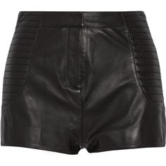 Pierre Balmain High-rise leather shorts (21.815 RUB) ❤ liked on Polyvore featuring shorts, bottoms, black, highwaist shorts, leather short shorts, leather shorts, high-rise shorts and stretchy high waisted shorts