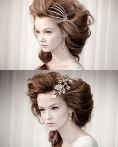 Go avant garde for your Big Night Out! Formalize your voluminous hair with beautiful pearls, diamonds, or themed accessories. This is a nice alternative to a late 19th century updo. #wedding #prom