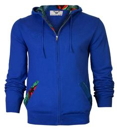 Men's fine knitt African print hooded cardigan. Zip front, drawstring hood, Embroidered logo on chest Royal Blue Cotton, Nylon Machine washable 30 degrees reduced spin Made with TLC in limited quantities African Attire, African Dress, African Style, African Clothes, African Inspired Fashion, African Men Fashion, Casual Suit, Men Casual, Customise T Shirt
