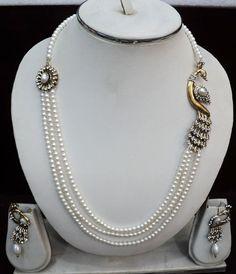 Off #White #Stone Studded #Necklace Set