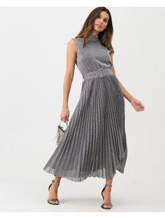 Warehouse Pleated Midi Dress - Metallic | littlewoodsireland.ie Pleated Midi Dress, High Leg Boots, Bridesmaid Dresses, Wedding Dresses, Dress Making, Dress Outfits, Kids Fashion, Lingerie, Stylish