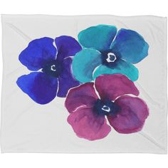 Jewel Tone Pansies Fleece by Laura Trevey Throw Blanket Size: Large ($86) ❤ liked on Polyvore featuring home, bed & bath, bedding, blankets, plush fleece throw, fleece blanket, fleece blanket throw, deny designs bedding and deny designs