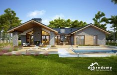 Nevada - Dobre Domy Flak & Abramowicz Small Modern House Plans, Beautiful House Plans, Linden Homes, Bedroom Built In Wardrobe, Modern Bungalow House, Sims House Plans, Facade House, House Layouts, Home Fashion