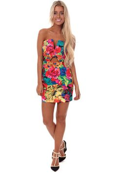 Bright Floral V and Keyhole Front Mini Dress-Colorful dress that will surely captivate your beauty to a new level.