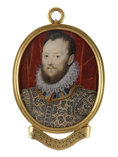 """The banner reads: """"Robert Devereux, Last Earl of Essex.""""  The title is a play on words.  """"You sought to be Robert the First,"""" shouted Edward Coke at the trial, """"but you shall be Robert the Last.""""  Look closer at the """"entwined serpents"""" - they are two of the letter """"e"""", one facing right, the other upside-down and facing left.  National Maritime Museum ID# MNT0117  by John Hoskins?"""
