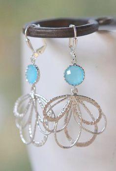 Sky Blue Dangle Earrings in Silver. Multiple Teardrop