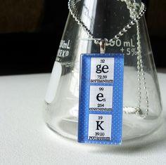 Chemistry Necklace Science Jewelry Womens  Blue by ShopGibberish, $12.00