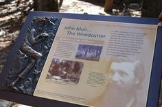 Yosemite National Park - John Muir. This plaque is at the very spot near the Lower Yosemite Falls Trail where John Muir had his cabin.it's an idyllic glade in the forest beside a clear running stream and it's possible to get a sense of the attraction that John Muir felt for this Valley here...and ultimately led him to be instrumental in protecting this and so many other wild places in the US.