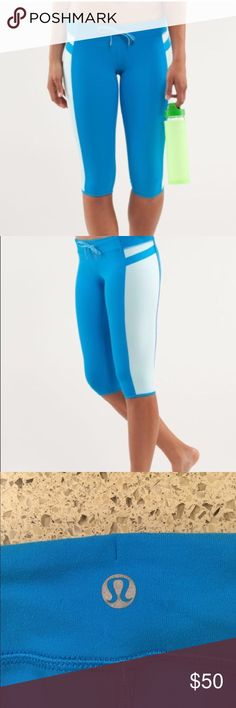 """LULULEMON """"HEAT IT UP"""" CAPRIS SIZE 4 WORN ONCE CLEANING OUT MY COLLECTION YOUR GAIN!! THESE ARE DARK/LIGHT TURQUOISE BLUE WITH ADJUSTABLE  BUILT  IN DRAWSTRING WAISTBAND.  THESE HAVE ONLY BEEN WORN ONCE FOR A PHOTO SHOOT. MID-RIASE LIGHT WEIGHT FORM TO FIT FABRIC.  MATCHING BRA ALSO AVAILABLE.  PLEASE LET ME KNOW IF YOU HAVE ANY QUESTIONS.  I AM OPEN FOR OFFERS.  HAPPY BIDDING. lululemon athletica Pants"""