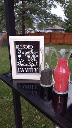 Blended Together we make one Beautiful Family, Unity sand ceremony shadow box Vasen 🏺 Wedding With Kids, Fall Wedding, Rustic Wedding, Our Wedding, Wedding Ideas, Wedding Stuff, Dream Wedding, Wedding Poses, Wedding Themes