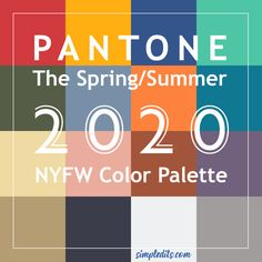 Color palette Pantone for Spring Summer 2020 New York Fashion Week - 2020 fashion trends - Pantone Azul, Palette Pantone, Pantone Colour Palettes, Pantone 2020, Pantone Color, Spring Color Palette, Blue Colour Palette, Spring Colors, New York Fashion