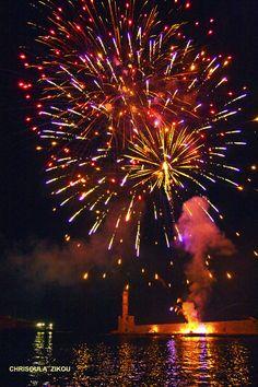 "New Year Fireworks, Hania, Crete ""LIGHTHOUSE- CHANIA CRETE-FIREWORKS"" by Chriss Zikou"