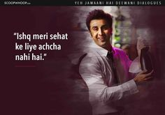 Here the list of 14 Yeh Jawaani Hai Deewani dialogues you should check out. Amazing Yeh Jawaani Hai Deewani quotes to remember. Love Hate Quotes, Love Song Quotes, Favorite Movie Quotes, Famous Movie Quotes, Pretty Quotes, Crazy Quotes, Couple Quotes, Lyric Quotes, Hindi Quotes