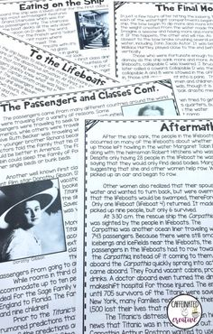 Titanic reading passages are included in a big Titanic Interactive Unit. After…