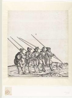 Hans Burgkmair (der Ältere)   Vijf jagers en hond bij de jacht op steenbokken en gemzen, Hans Burgkmair (der Ältere), 1483 - 1526   Vijf jagers lopen op een rij, zij dragen verschillende voorwerpen die zij gebruiken bij de jacht op steenbokken en gemzen. Herkenbaar zijn de lansen met scherpe punten, dolken, ijssporen, haverzakken en de sneeuwschoenen. De jagers maken deel uit van de triomftocht van keizer Maximiliaan I. Naast hen loopt een hond.