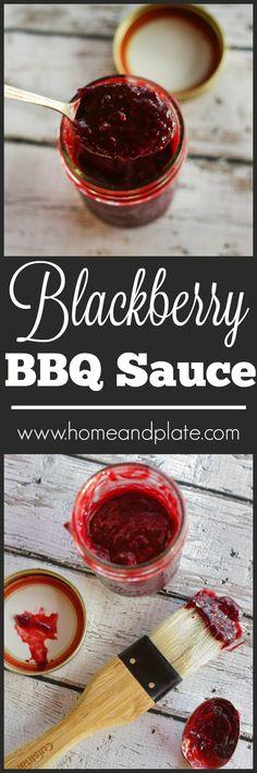 Blackberry Barbecue Sauce | www.homeandplate.com | Fresh sweet blackberries give…
