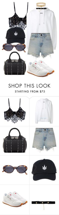 """""""Untitled #1021"""" by veronice-lopez ❤ liked on Polyvore featuring For Love & Lemons, Off-White, Alexander Wang, Oliver Peoples, Palm Angels, Reebok, Bartoli and Eddie Borgo"""