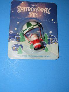 Avon Vintage 1986 Santa's Away Pin Santa dropping in on you!! by mariehotdeals on Etsy