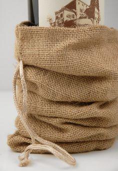 "Save-on-Crafts.com Burlap Bags at Discount Prices Burlap Wine Bags Drawstring (10 bags/pkg) $17.90 pkg ($1.79 each) Regular price $3.99 Natural Burlap with drawstring. 15"" tall x 6-1/4"" wide. Gusset bottom."