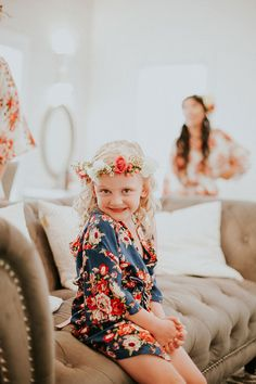 10 of the Sweetest Floral Wreaths for Flower Girls ~ too cute, love the wreath and the robe; photo by Kind Honey Photography Wedding Veils, Wedding Flowers, Wedding Dresses, Perfect Wedding, Dream Wedding, Mon Cheri Bridal, Flower Girl Dresses, Flower Girls, Bridal Accessories