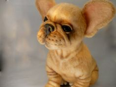 This French Bulldog is needle felted by me, Grannancan, and sold on Etsy