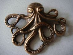 ButtonArtMuseum.com - Stamped Brass Octopus Vintage Style Button 2 1 4""