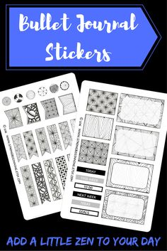 These hand-drawn zentangle stickers add decoration and sophistication wherever you place them.  They are ideal for your bullet journal or planner. Printed on clear matte sticker paper, they add minimal thickness to your planner and blend nicely with white or off-white pages.  The see-through stick paper makes the designs appear as if you drew them yourself…they compliment your handiwork rather than compete with it.