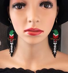 Tropical Bird Earrings Bird lover Gift Nature Lover Beaded Bird Jewelry Seed Bead Fringe Earrings Green Red Black White Earrings Wildlife by TropicalFusionTreats on Etsy https://www.etsy.com/uk/listing/475577256/tropical-bird-earrings-bird-lover-gift