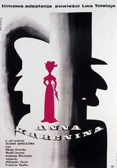 Anna Karenina Original Polish movie poster film, Russia director: Aleksandr Zarkhy actors: Tatyana Samojlova designer: Eryk Lipinski year: 1968 size: A1