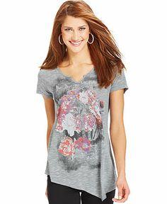 Style&co. Striped Floral-Print Asymmetrical-Hem Tee - Tops - Women - Macy's