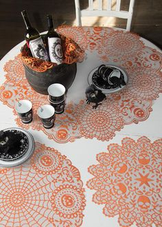 Our Frightful doilies come in three sizes to help you choose the one just right for your Halloween table