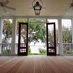Screened Porch Leading to the Charleston Style Garden / Wando River. #shiplap…