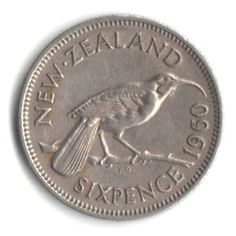Coin: 1960 New Zealand Sixpence Coin Km - Huia Bird - Financializer Store Nz History, Coin Store, Nz Art, Kiwiana, My Childhood Memories, Flag Design, Coin Collecting, Bird Art, What Is Like