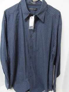 Geoffrey Beene Men's  Button Front Casulal Dress Shirt Long Sleeve Blue L New #GeoffreyBeene #ButtonFront