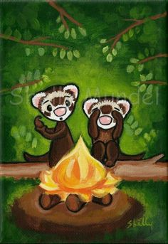 Original Canvas Painting - Ferrets Camping -Shelly Mundel (Ferrets love to go where there people go and do all that they do.)