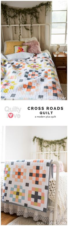 Crossroads quilt pattern by Emily of Quiltylove.com.  Fat quarter   friendly quilt pattern for the modern quilter.  Baby and throw quilt   pattern.  Modern solids quilt.