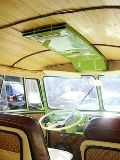 cool bamboo interior in a vw bus